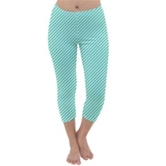 Tiffany Aqua Blue Diagonal Sailor Stripes Capri Winter Leggings