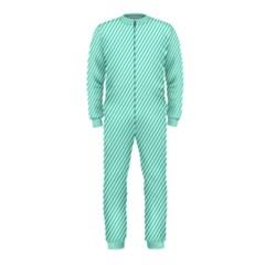 Tiffany Aqua Blue Diagonal Sailor Stripes OnePiece Jumpsuit (Kids)