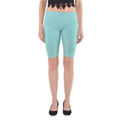 Tiffany Aqua Blue Diagonal Sailor Stripes Yoga Cropped Leggings