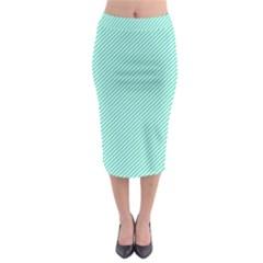 Tiffany Aqua Blue Diagonal Sailor Stripes Midi Pencil Skirt
