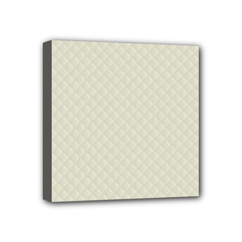 Rich Cream Stitched and Quilted Pattern Mini Canvas 4  x 4