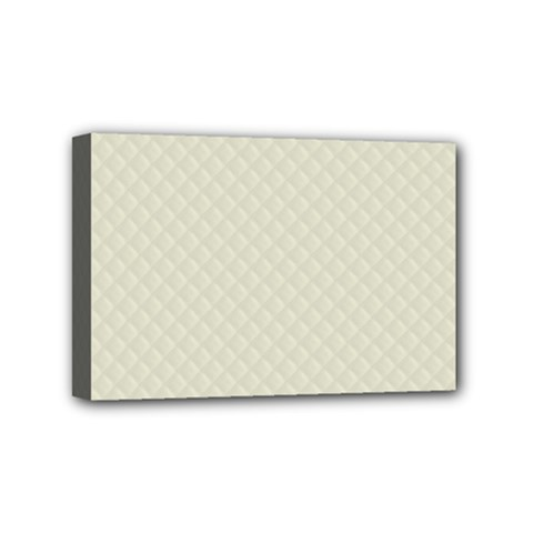Rich Cream Stitched and Quilted Pattern Mini Canvas 6  x 4