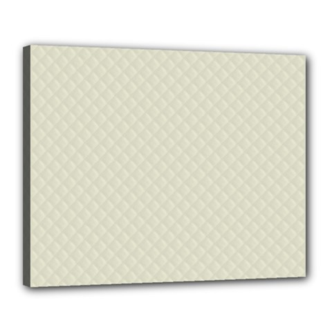 Rich Cream Stitched and Quilted Pattern Canvas 20  x 16