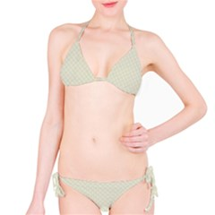 Rich Cream Stitched and Quilted Pattern Bikini Set