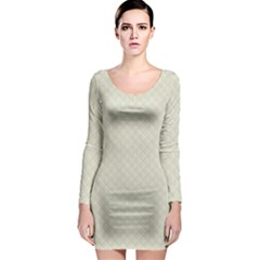 Rich Cream Stitched and Quilted Pattern Long Sleeve Bodycon Dress