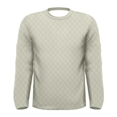 Rich Cream Stitched and Quilted Pattern Men s Long Sleeve Tee