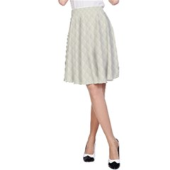 Rich Cream Stitched and Quilted Pattern A-Line Skirt