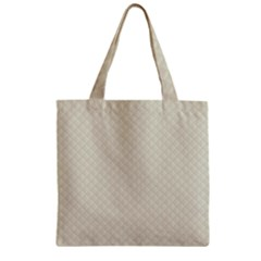 Rich Cream Stitched and Quilted Pattern Zipper Grocery Tote Bag