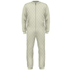 Rich Cream Stitched and Quilted Pattern OnePiece Jumpsuit (Men)
