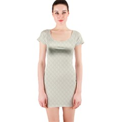 Rich Cream Stitched and Quilted Pattern Short Sleeve Bodycon Dress