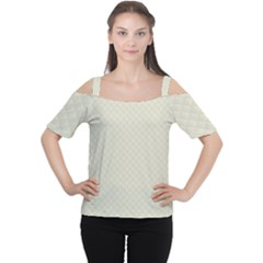 Rich Cream Stitched and Quilted Pattern Women s Cutout Shoulder Tee