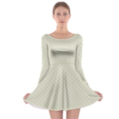 Rich Cream Stitched and Quilted Pattern Long Sleeve Skater Dress