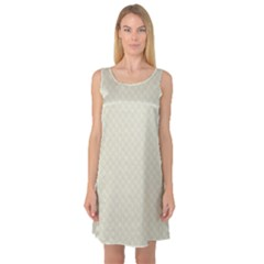 Rich Cream Stitched and Quilted Pattern Sleeveless Satin Nightdress