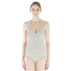 Rich Cream Stitched and Quilted Pattern Halter Swimsuit