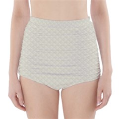 Rich Cream Stitched and Quilted Pattern High-Waisted Bikini Bottoms
