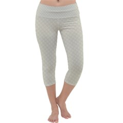 Rich Cream Stitched and Quilted Pattern Capri Yoga Leggings
