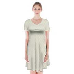 Rich Cream Stitched and Quilted Pattern Short Sleeve V-neck Flare Dress
