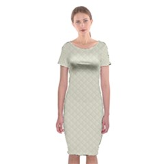 Rich Cream Stitched and Quilted Pattern Classic Short Sleeve Midi Dress