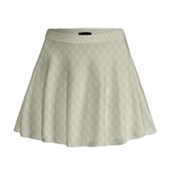 Rich Cream Stitched and Quilted Pattern Mini Flare Skirt