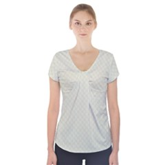 Rich Cream Stitched and Quilted Pattern Short Sleeve Front Detail Top