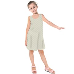 Rich Cream Stitched and Quilted Pattern Kids  Sleeveless Dress