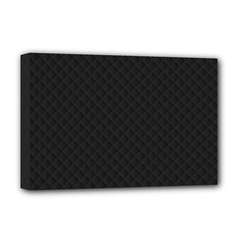 Sleek Black Stitched and Quilted Pattern Deluxe Canvas 18  x 12