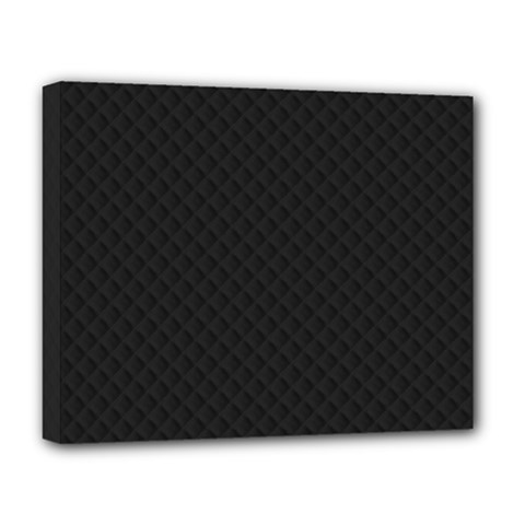 Sleek Black Stitched and Quilted Pattern Deluxe Canvas 20  x 16