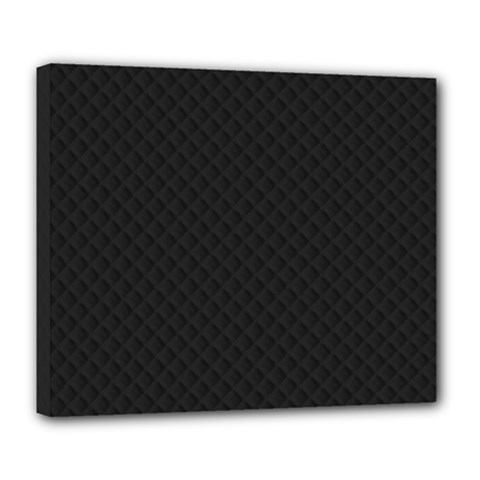 Sleek Black Stitched and Quilted Pattern Deluxe Canvas 24  x 20
