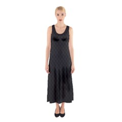 Sleek Black Stitched and Quilted Pattern Sleeveless Maxi Dress