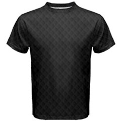 Sleek Black Stitched and Quilted Pattern Men s Cotton Tee