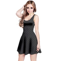 Sleek Black Stitched and Quilted Pattern Reversible Sleeveless Dress