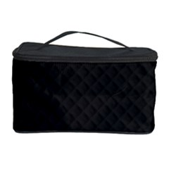 Sleek Black Stitched and Quilted Pattern Cosmetic Storage Case