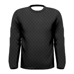 Sleek Black Stitched and Quilted Pattern Men s Long Sleeve Tee