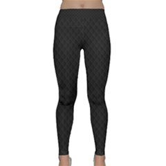 Sleek Black Stitched and Quilted Pattern Classic Yoga Leggings