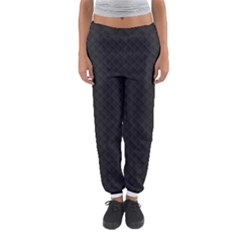 Sleek Black Stitched and Quilted Pattern Women s Jogger Sweatpants