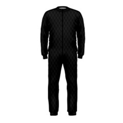 Sleek Black Stitched and Quilted Pattern OnePiece Jumpsuit (Kids)