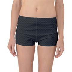 Sleek Black Stitched and Quilted Pattern Reversible Bikini Bottoms