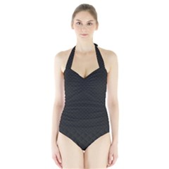 Sleek Black Stitched and Quilted Pattern Halter Swimsuit