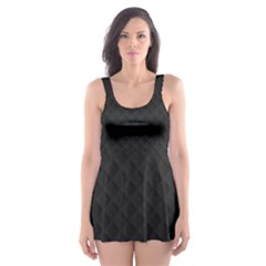 Sleek Black Stitched and Quilted Pattern Skater Dress Swimsuit