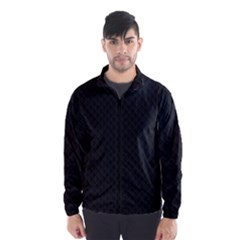 Sleek Black Stitched and Quilted Pattern Wind Breaker (Men)