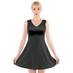 Sleek Black Stitched and Quilted Pattern V-Neck Sleeveless Skater Dress