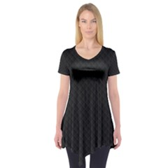 Sleek Black Stitched and Quilted Pattern Short Sleeve Tunic
