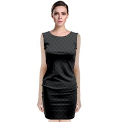 Sleek Black Stitched and Quilted Pattern Classic Sleeveless Midi Dress