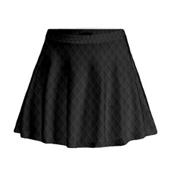 Sleek Black Stitched and Quilted Pattern Mini Flare Skirt