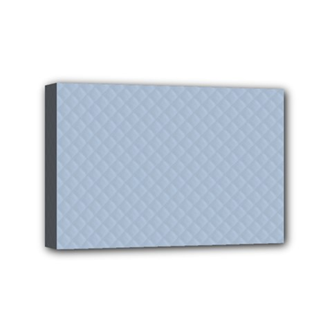 Powder Blue Stitched and Quilted Pattern Mini Canvas 6  x 4