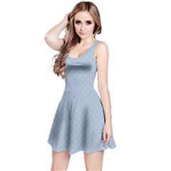 Powder Blue Stitched and Quilted Pattern Reversible Sleeveless Dress