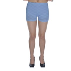 Powder Blue Stitched and Quilted Pattern Skinny Shorts
