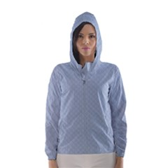 Powder Blue Stitched and Quilted Pattern Hooded Wind Breaker (Women)