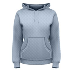 Powder Blue Stitched and Quilted Pattern Women s Pullover Hoodie
