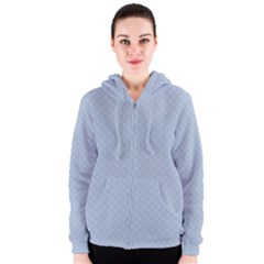 Powder Blue Stitched and Quilted Pattern Women s Zipper Hoodie